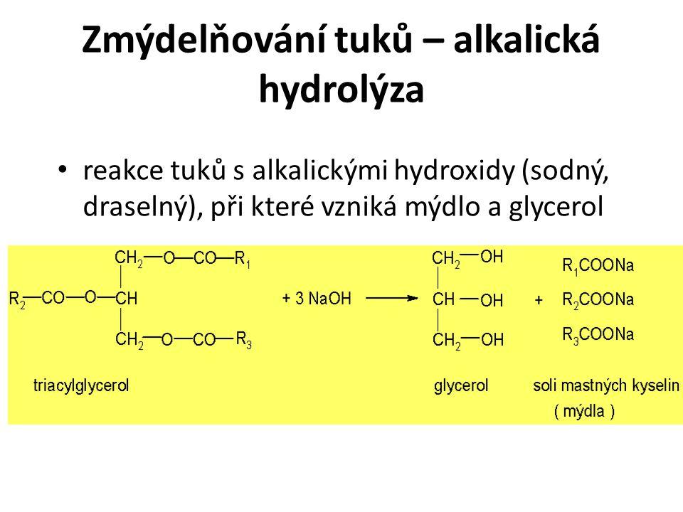 Zmýdelňování tuků – alkalická hydrolýza