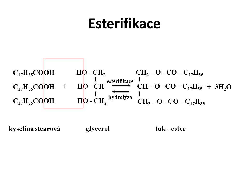 Esterifikace C17H35COOH HO - CH2 CH2 – O –CO – C17H35 C17H35COOH +