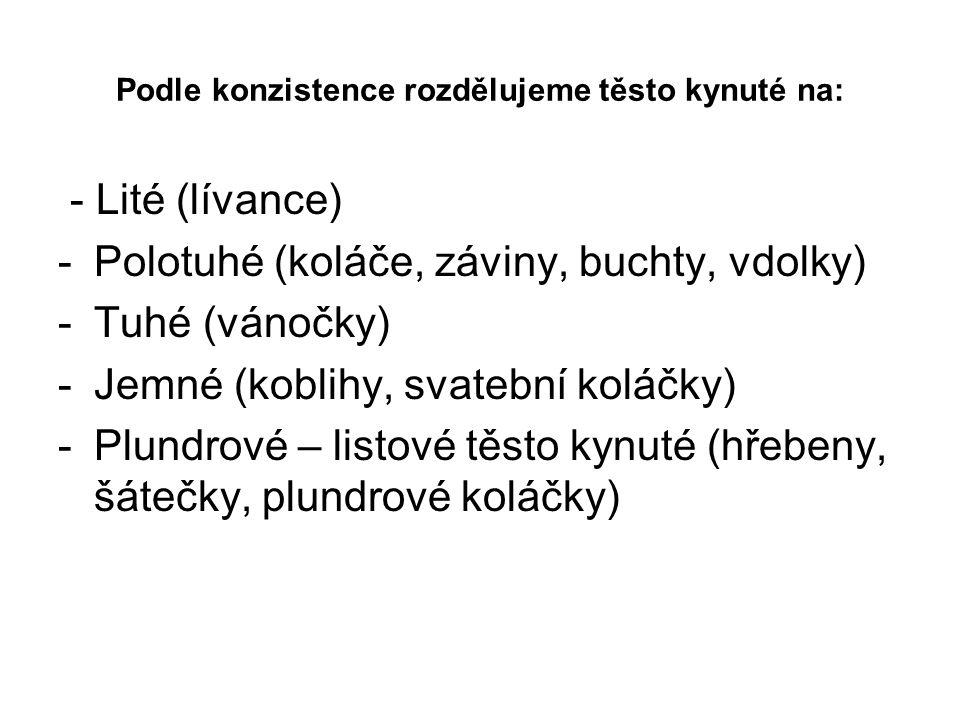 Podle konzistence rozdělujeme těsto kynuté na: