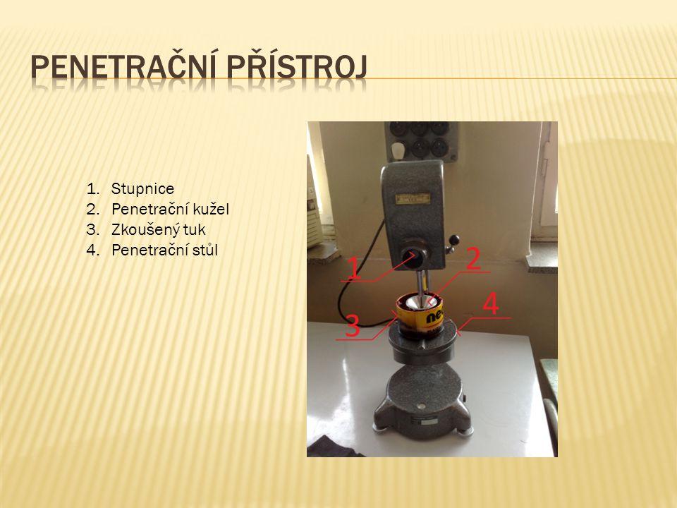 Penetrační přístroj Stupnice Penetrační kužel Zkoušený tuk