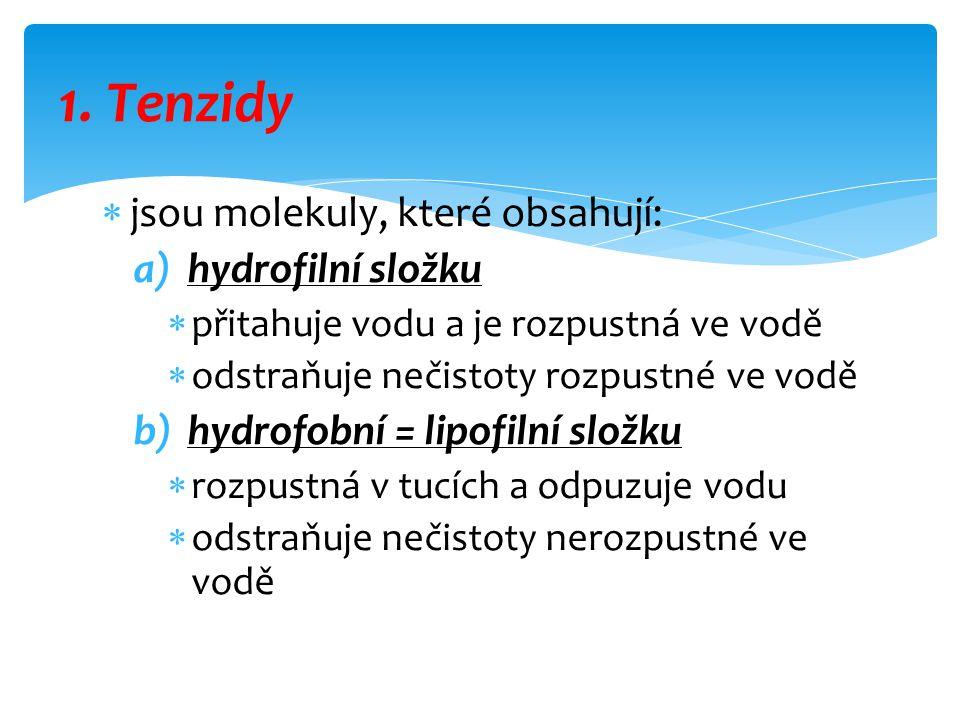 1. Tenzidy jsou molekuly, které obsahují: hydrofilní složku