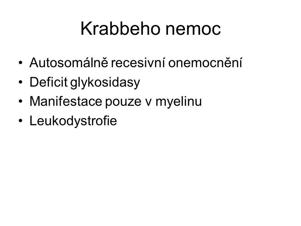 Krabbeho nemoc Autosomálně recesivní onemocnění Deficit glykosidasy