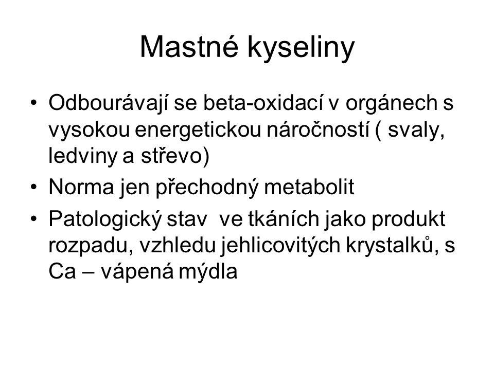 Mastné kyseliny Odbourávají se beta-oxidací v orgánech s vysokou energetickou náročností ( svaly, ledviny a střevo)