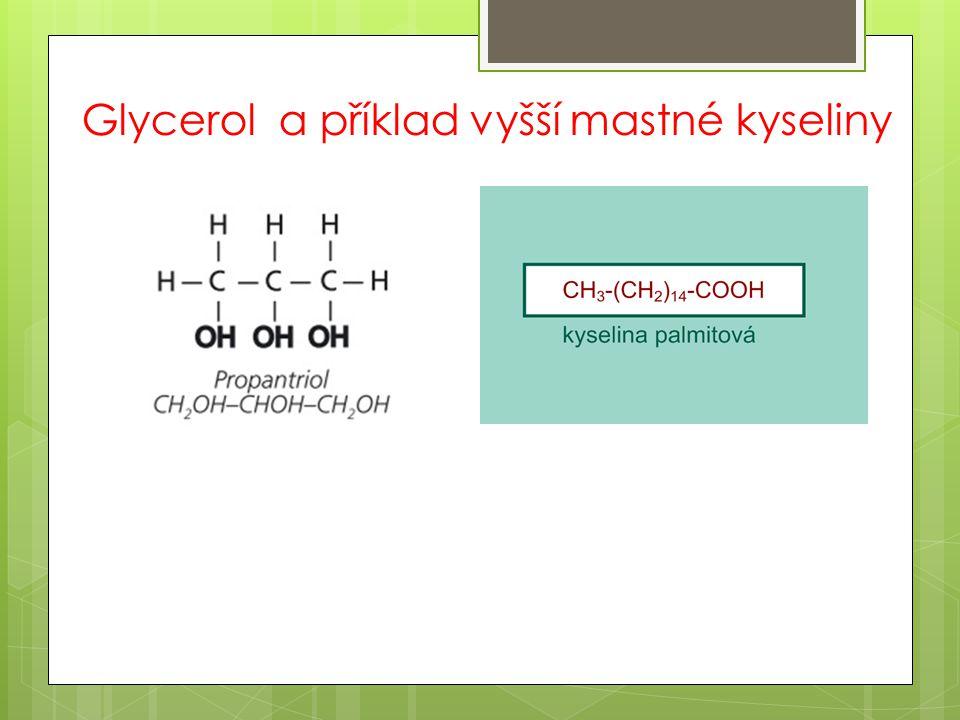 Glycerol a příklad vyšší mastné kyseliny