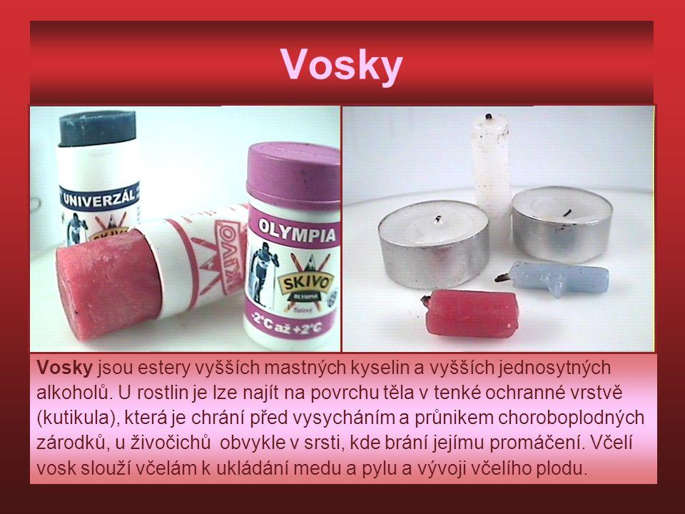 Vosky Vosky jsou estery vyšších mastných kyselin a vyšších jednosytných. alkoholů. U rostlin je lze najít na povrchu těla v tenké ochranné vrstvě.