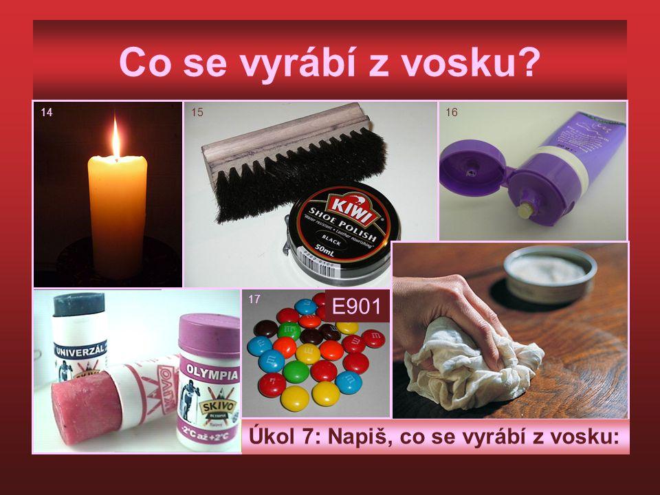 Co se vyrábí z vosku E901 Úkol 7: Napiš, co se vyrábí z vosku: 14 15