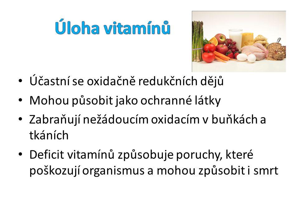 Úloha vitamínů Účastní se oxidačně redukčních dějů