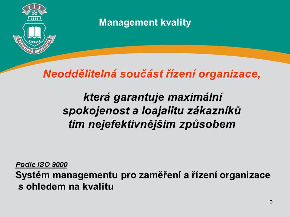 Neoddělitelná součást řízení organizace,