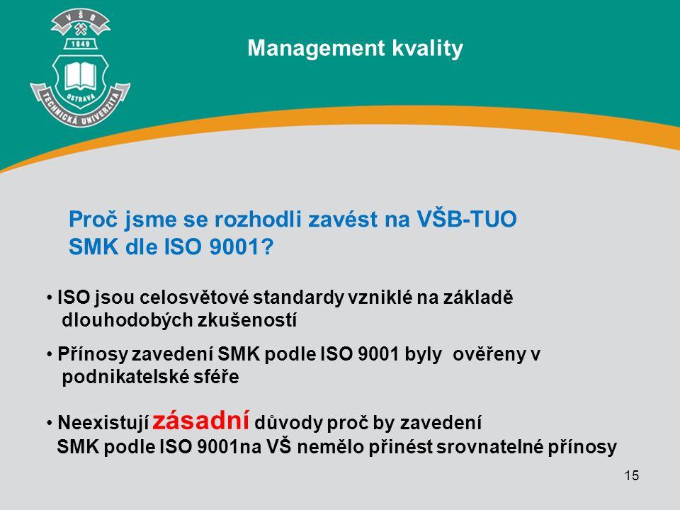 Proč jsme se rozhodli zavést na VŠB-TUO SMK dle ISO 9001