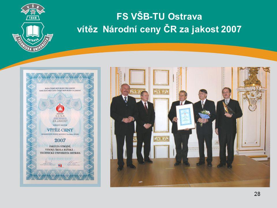FS VŠB-TU Ostrava vítěz Národní ceny ČR za jakost 2007