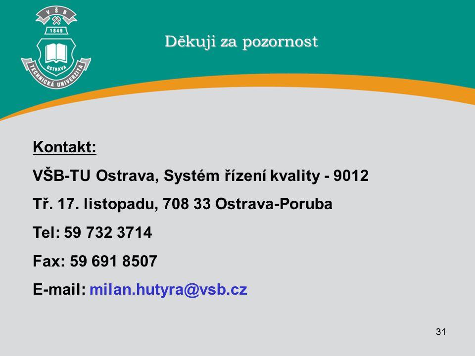 Děkuji za pozornost Kontakt: VŠB-TU Ostrava, Systém řízení kvality - 9012. Tř. 17. listopadu, 708 33 Ostrava-Poruba.