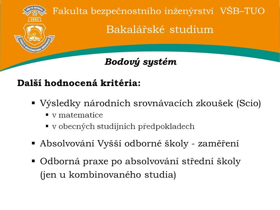 Bakalářské studium Bodový systém Další hodnocená kritéria: