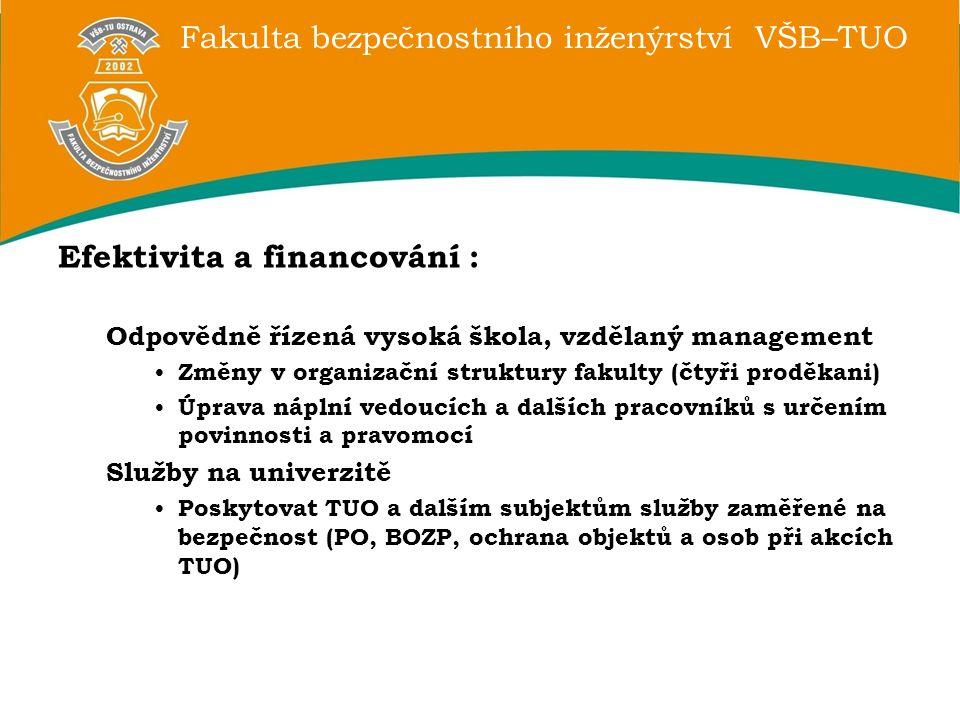Efektivita a financování :