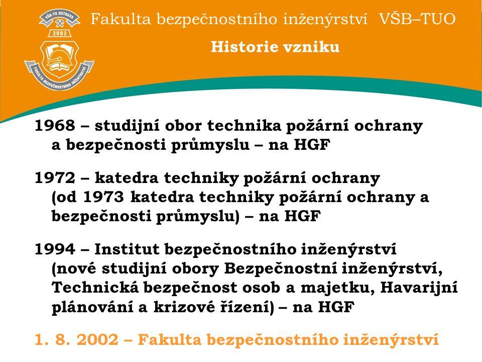 Historie vzniku 1968 – studijní obor technika požární ochrany a bezpečnosti průmyslu – na HGF.