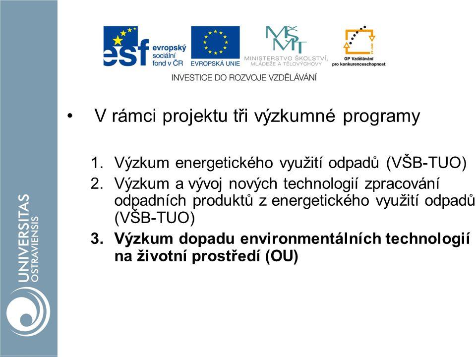 V rámci projektu tři výzkumné programy