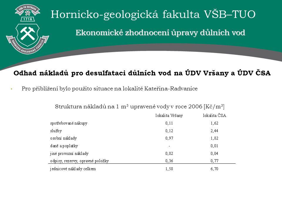 Odhad nákladů pro desulfataci důlních vod na ÚDV Vršany a ÚDV ČSA