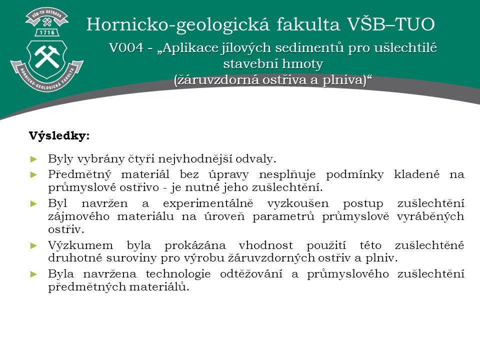 """V004 - """"Aplikace jílových sedimentů pro ušlechtilé stavební hmoty (žáruvzdorná ostřiva a plniva)"""