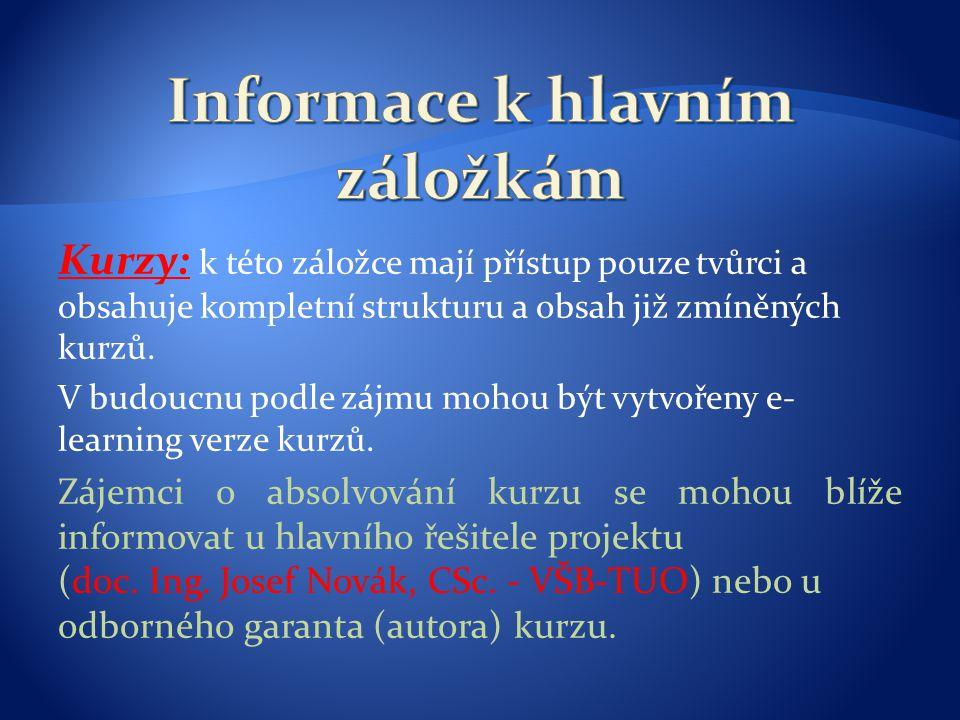 Informace k hlavním záložkám
