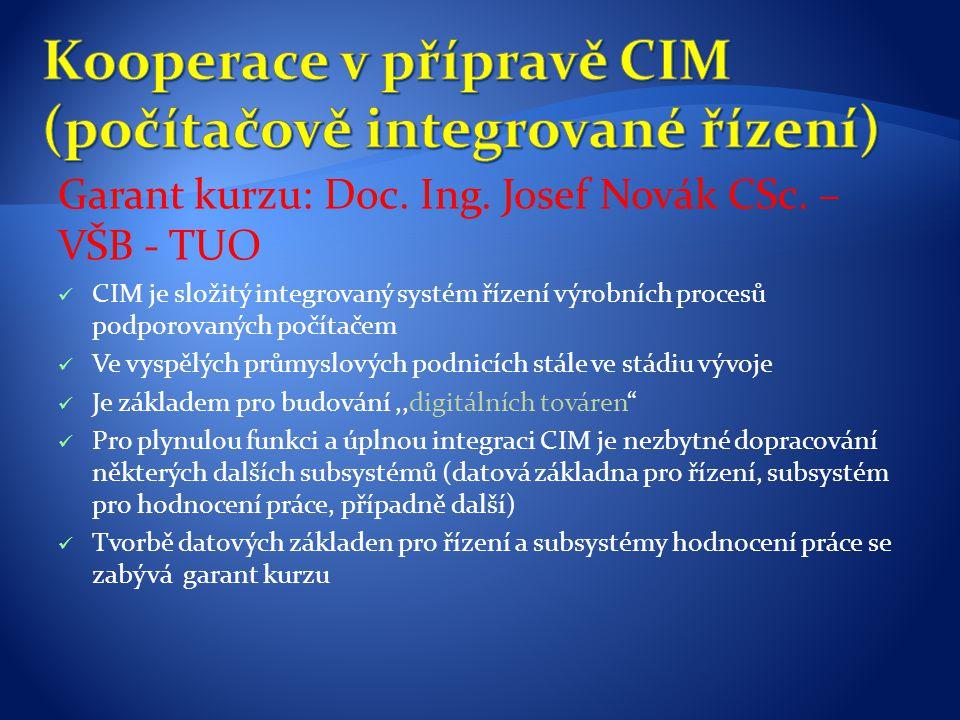 Kooperace v přípravě CIM (počítačově integrované řízení)