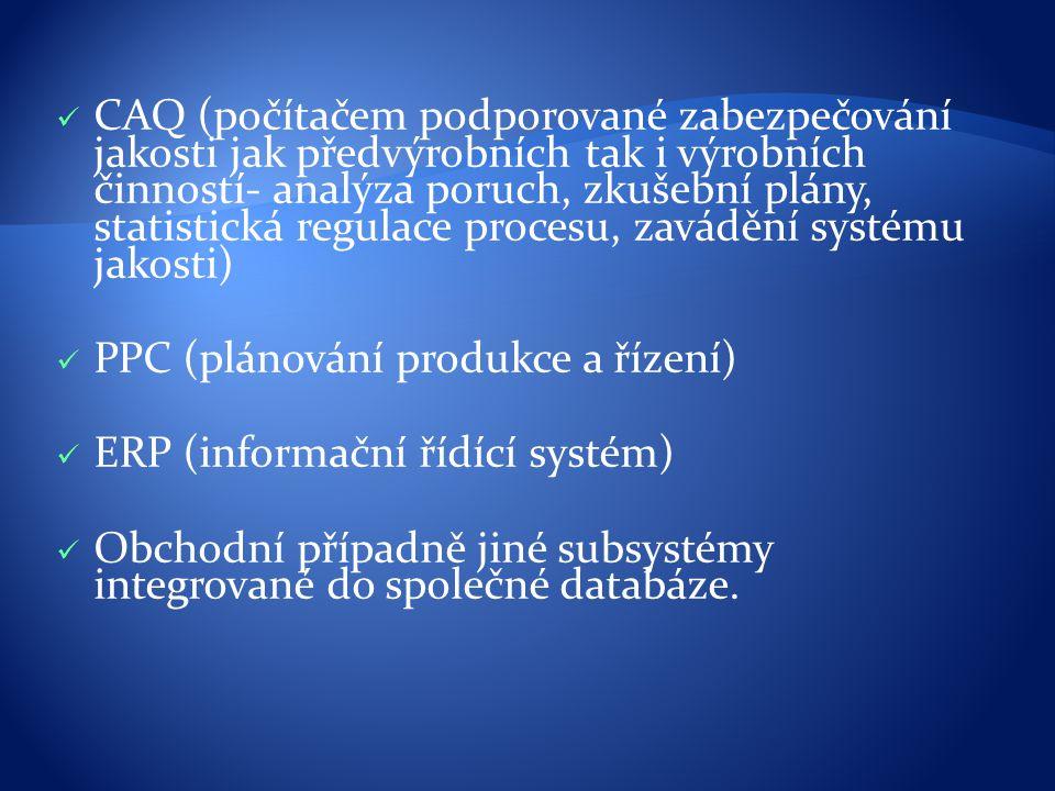 CAQ (počítačem podporované zabezpečování jakosti jak předvýrobních tak i výrobních činností- analýza poruch, zkušební plány, statistická regulace procesu, zavádění systému jakosti)