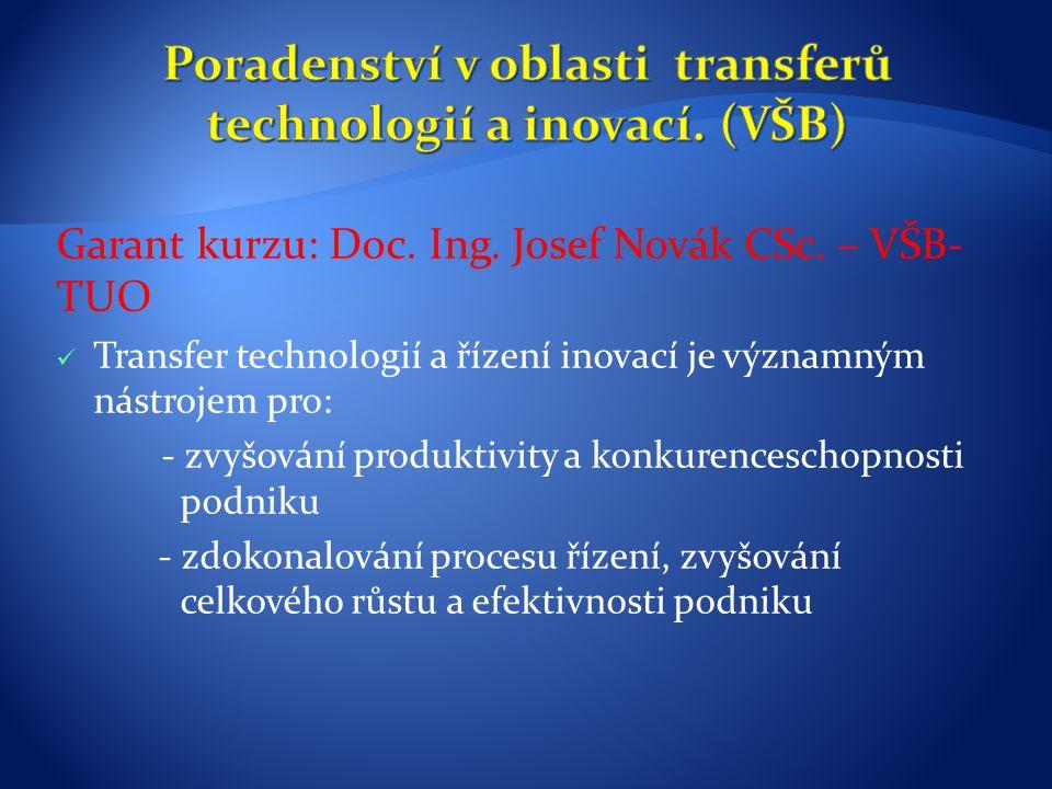 Poradenství v oblasti transferů technologií a inovací. (VŠB)