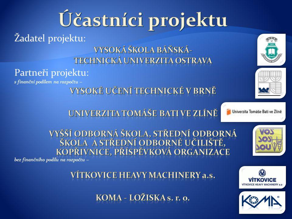 Účastníci projektu Žadatel projektu: Partneři projektu: