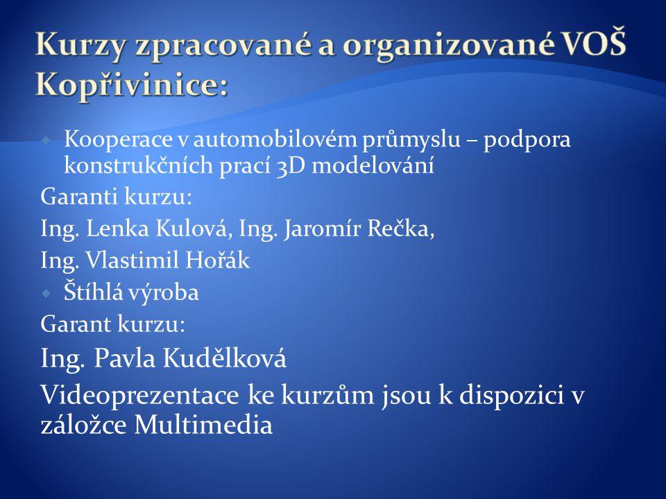 Kurzy zpracované a organizované VOŠ Kopřivinice:
