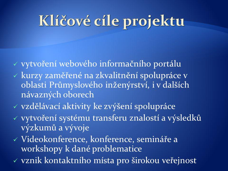 Klíčové cíle projektu vytvoření webového informačního portálu