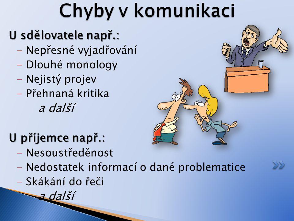 Chyby v komunikaci U sdělovatele např.: a další U příjemce např.: