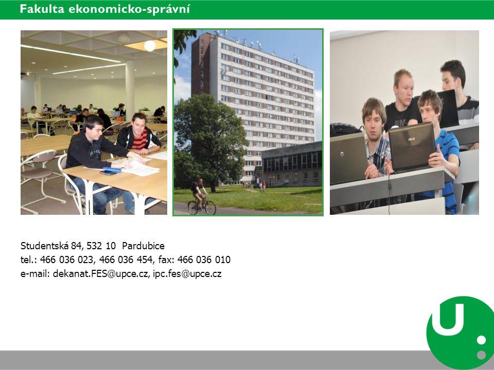 Studentská 84, 532 10 Pardubice tel.: 466 036 023, 466 036 454, fax: 466 036 010.