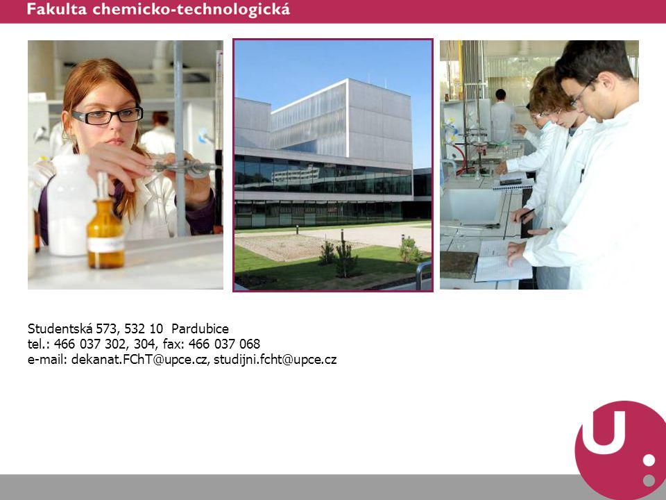 Studentská 573, 532 10 Pardubice tel.: 466 037 302, 304, fax: 466 037 068.