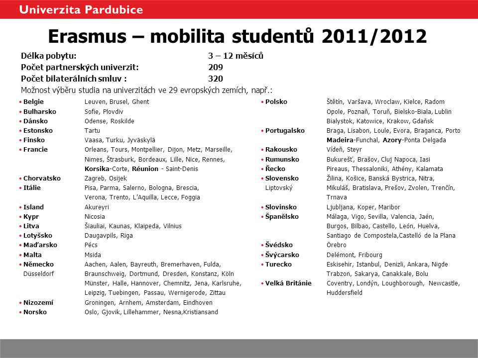 Erasmus – mobilita studentů 2011/2012