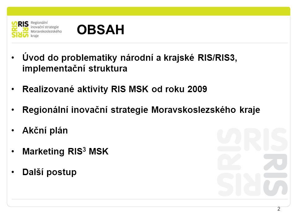 OBSAH Úvod do problematiky národní a krajské RIS/RIS3, implementační struktura. Realizované aktivity RIS MSK od roku 2009.