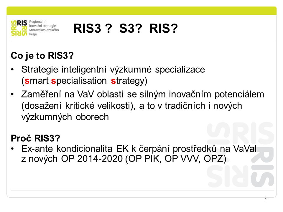 RIS3 S3 RIS Co je to RIS3 Strategie inteligentní výzkumné specializace (smart specialisation strategy)