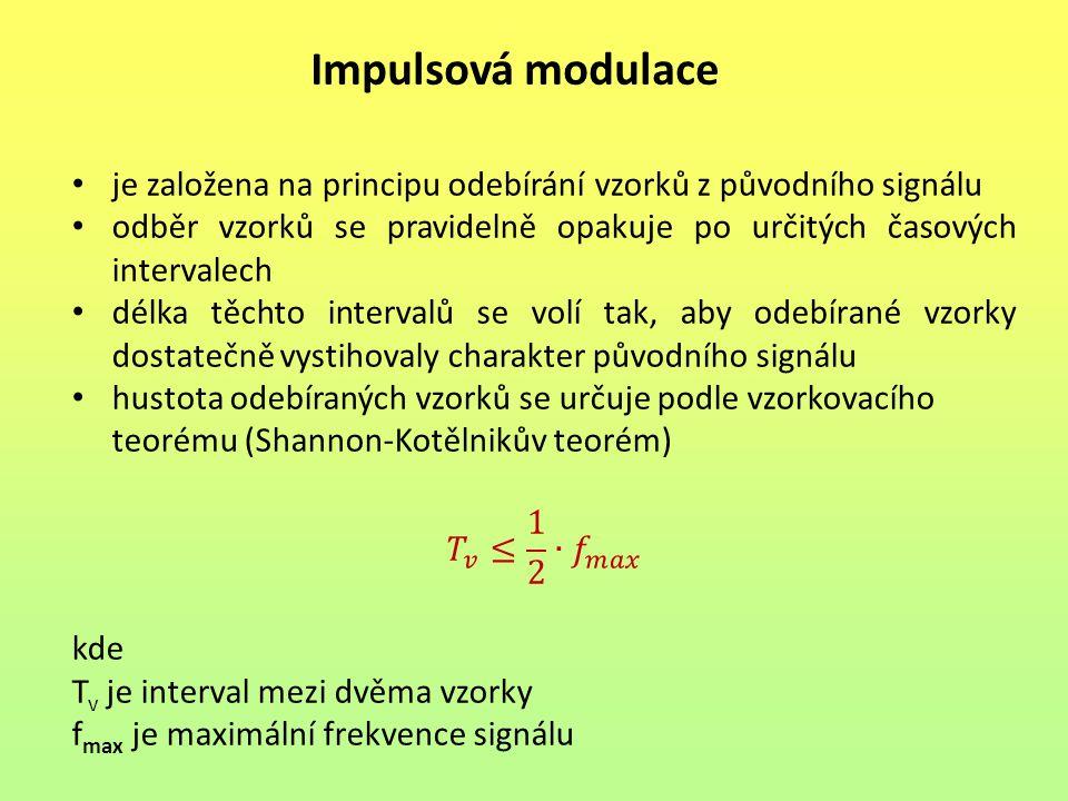 Impulsová modulace je založena na principu odebírání vzorků z původního signálu. odběr vzorků se pravidelně opakuje po určitých časových intervalech.