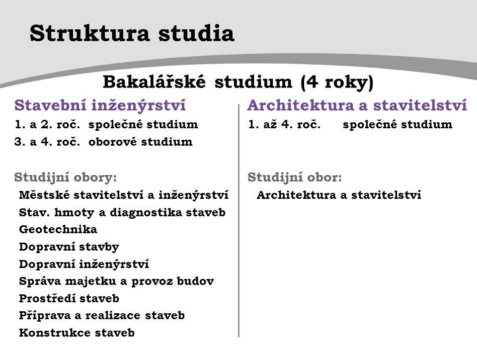Struktura studia Bakalářské studium (4 roky) Stavební inženýrství
