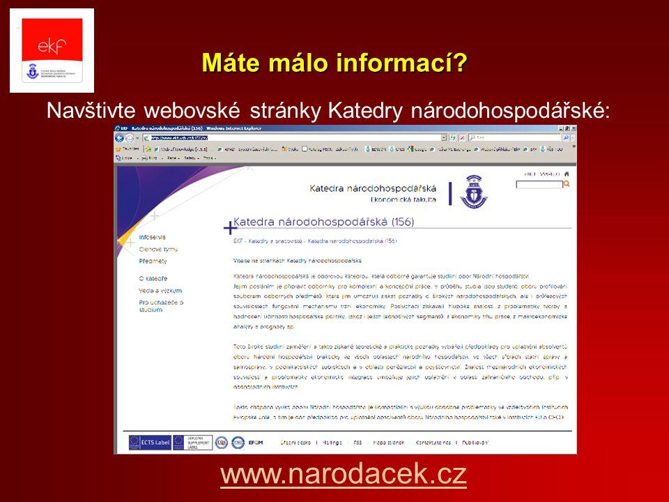 www.narodacek.cz Máte málo informací