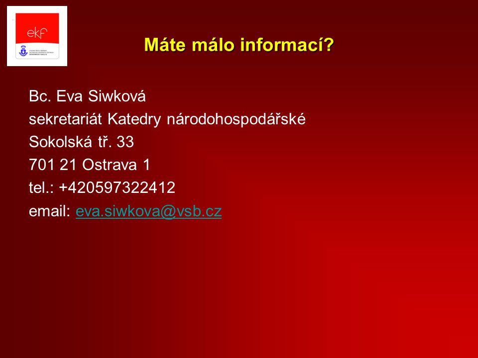 Máte málo informací Bc. Eva Siwková