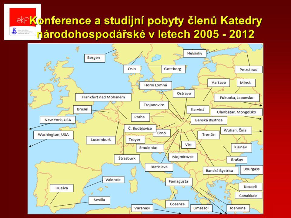 Konference a studijní pobyty členů Katedry národohospodářské v letech 2005 - 2012