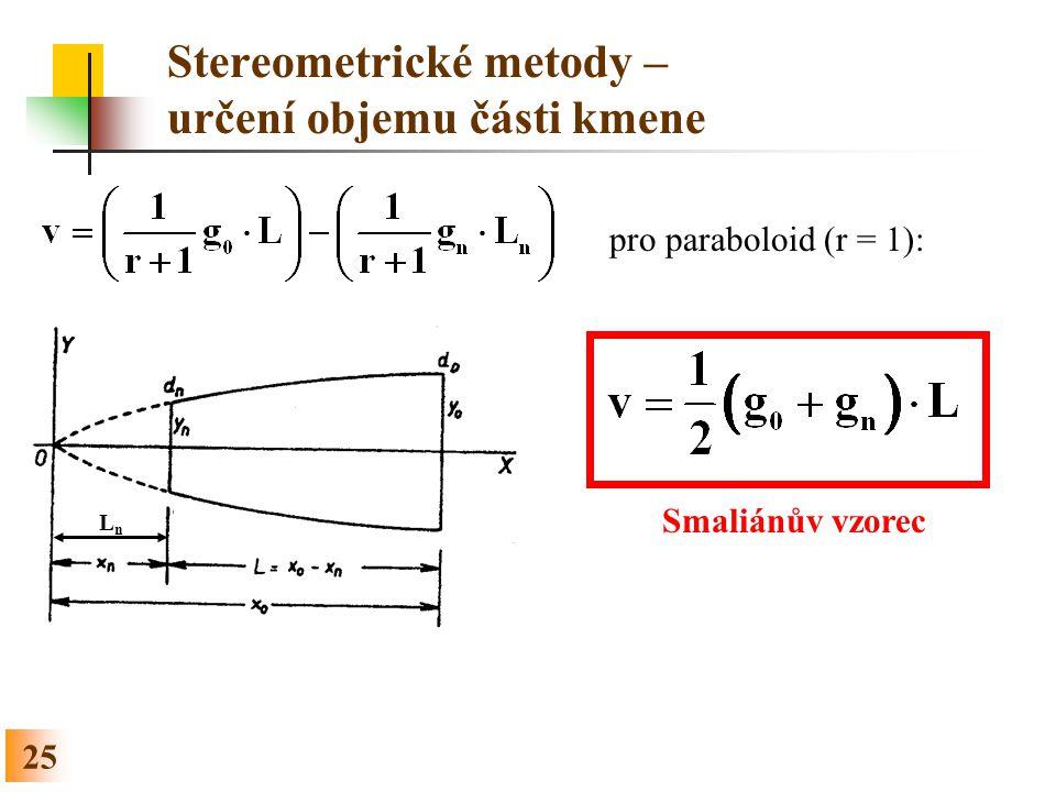 Stereometrické metody – určení objemu části kmene