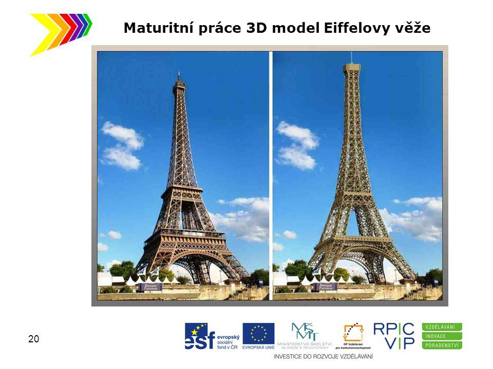 Maturitní práce 3D model Eiffelovy věže