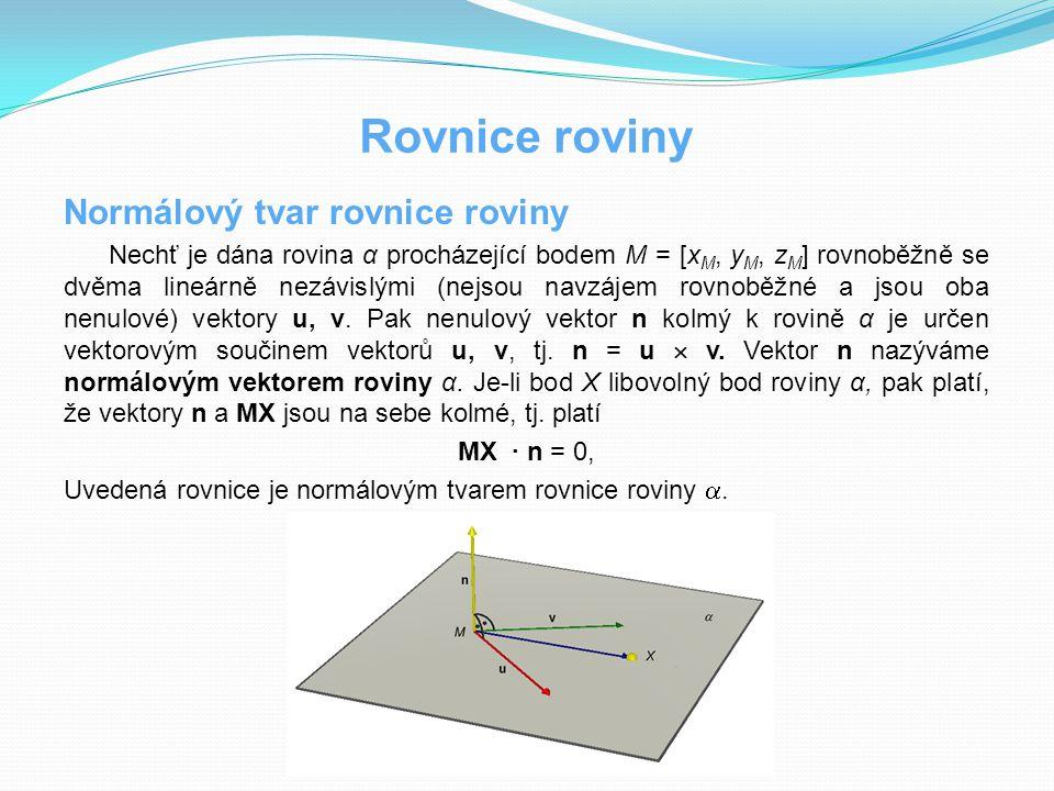 Rovnice roviny Normálový tvar rovnice roviny