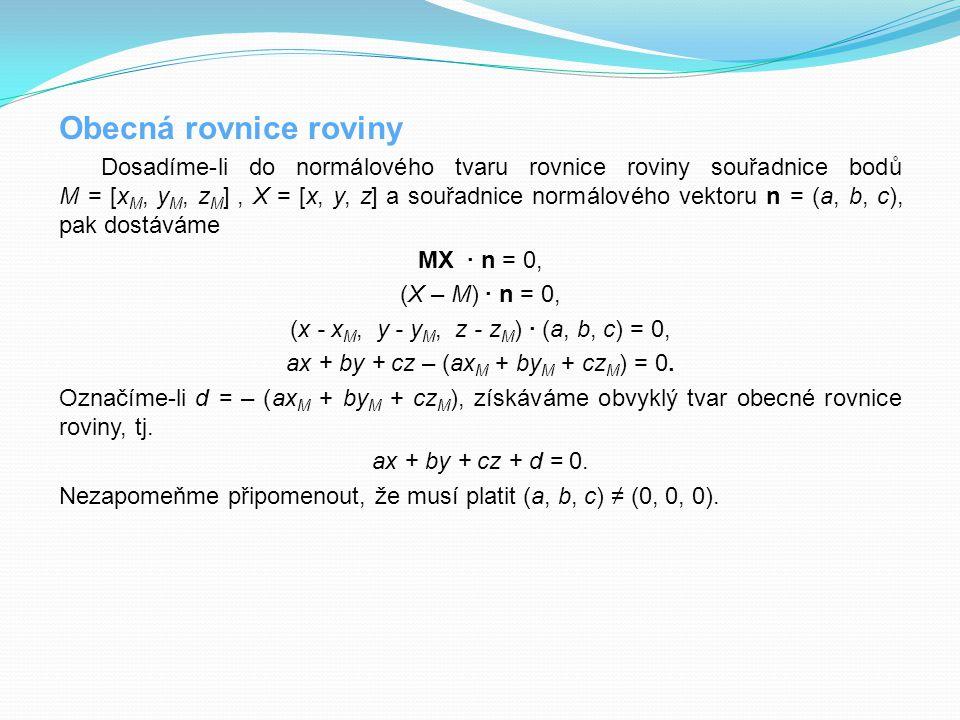 Obecná rovnice roviny