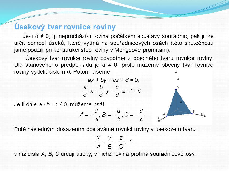 Úsekový tvar rovnice roviny