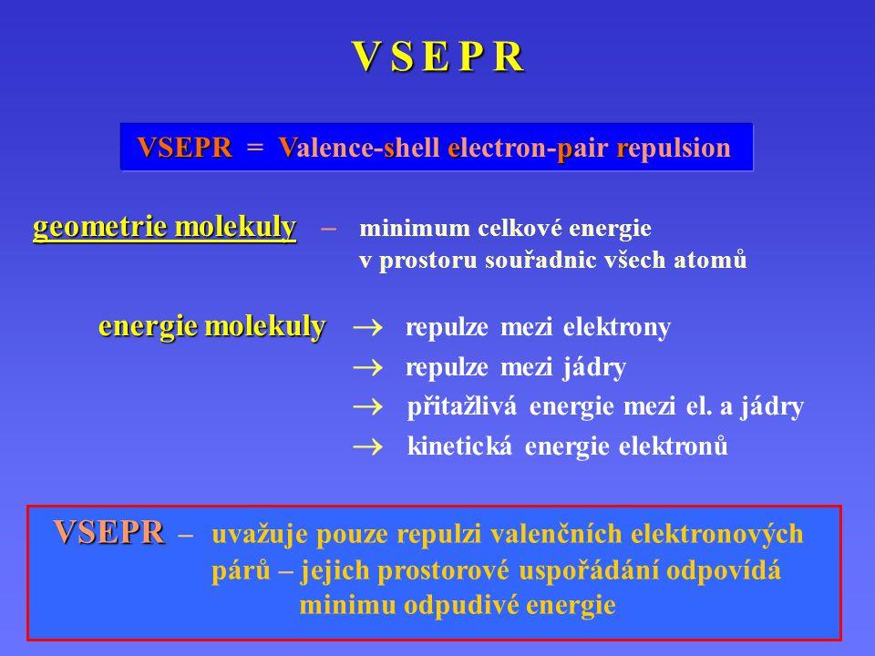 V S E P R VSEPR = Valence-shell electron-pair repulsion. geometrie molekuly – minimum celkové energie v prostoru souřadnic všech atomů.