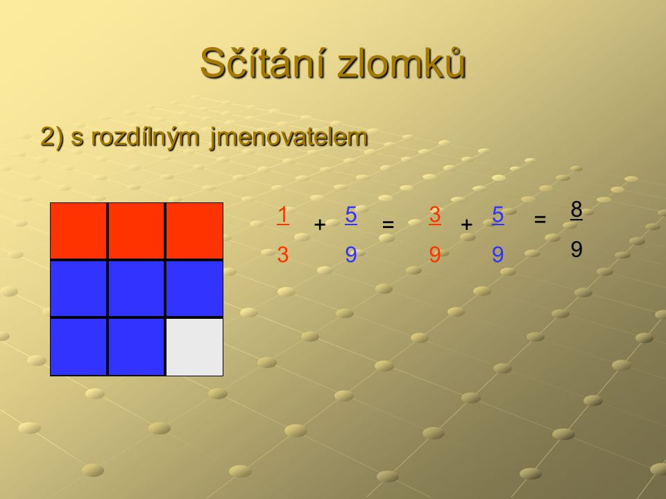 Sčítání zlomků 2) s rozdílným jmenovatelem 8 9 1 3 5 9 3 9 5 9 = + = +