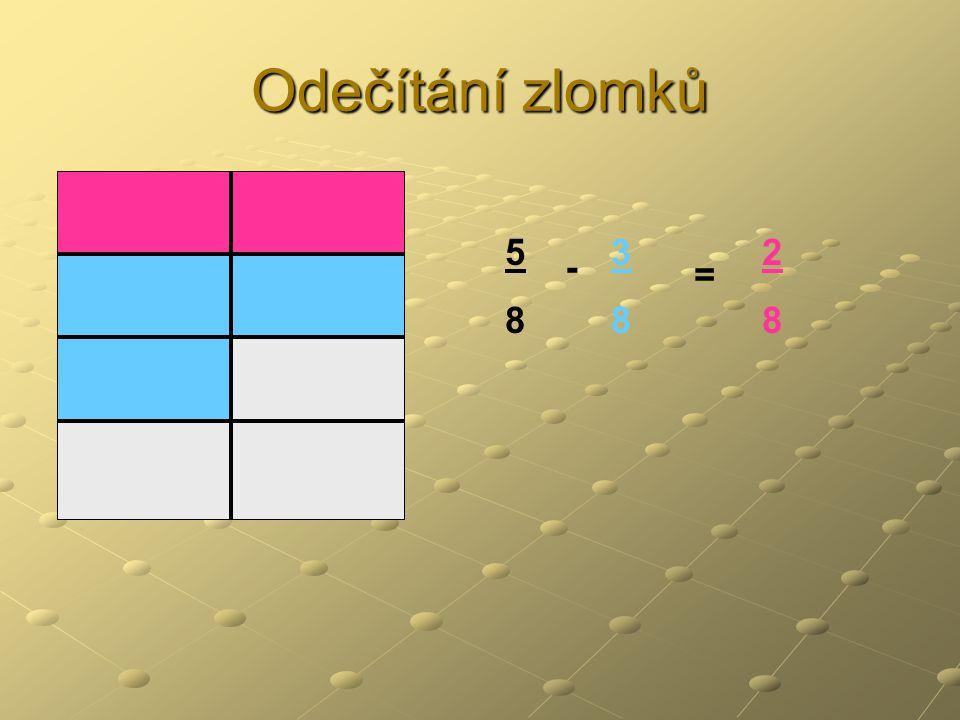 Odečítání zlomků 5 8 3 8 2 8 - =