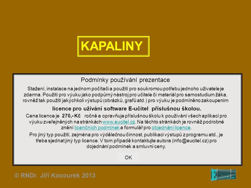KAPALINY Podmínky používání prezentace © RNDr. Jiří Kocourek 2013