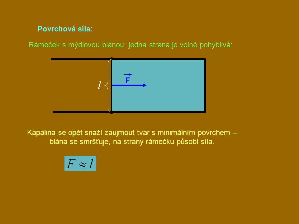 Povrchová síla: Rámeček s mýdlovou blánou; jedna strana je volně pohyblivá: F. l.