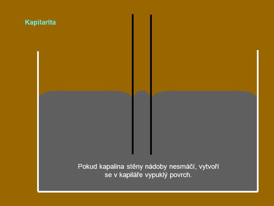 Kapilarita Pokud kapalina stěny nádoby nesmáčí, vytvoří se v kapiláře vypuklý povrch.
